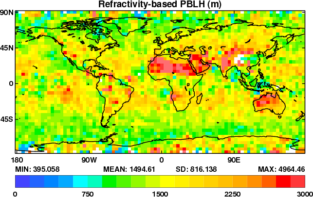 Map of the mean refractivity-based PBLH during April 2013